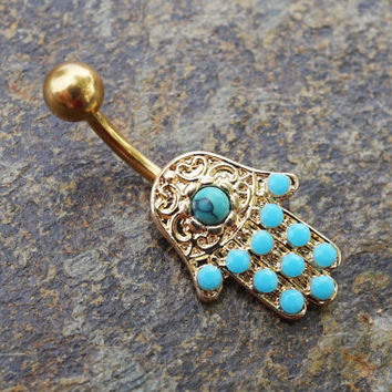 Gold Hamsa Hand Belly Button Ring