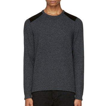 Rag And Bone Grey Leather Patch Zeeland Sweater