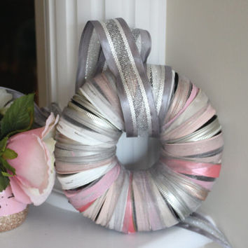 Mason Jar Lid Wreath, Pink Wreath, Silver Wreath, Pink Christmas Wreath, Silver Christmas Wreath, Silver Christmas Decor, Pink and Silver
