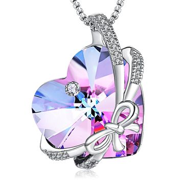 "Butterfly Heart Pendant Necklace PLATO H ""Butterfly Love"" Heart Pendant Necklace Love Heart Pendant Necklace With Swarovski Crystals Heart Shape Necklace For Woman, 18"""