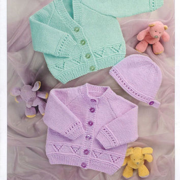Baby Cardigan and Hat Knitting Pattern PDF instant download  Size 12 - 24 inch Double Knitting