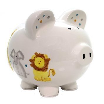 Bank SWEET SAFARI PIGGY BANK Ceramic Elephant Giraffe Lion 36871