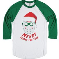 Merry Friday the 13th-Unisex White/Evergreen T-Shirt