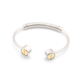 Gold Screw Bangle - Silver