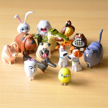 Cute 14pcs lot The Secret Life of Pets Snowball Gidget Mel Max Duke Dogs Cats Rabbit PVC Action Figure Toys Juguetes Decoration