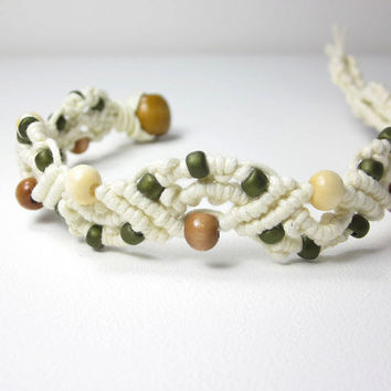 Cream and Olive Green Boho Micro Macrame Bracelet, Hippie Jewelry, Natural Wood Beads