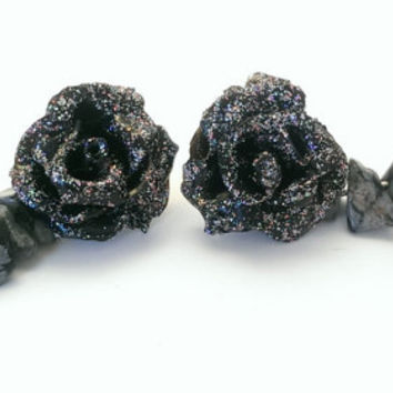 Black rose earrings, stud earrings, polymer clay rose