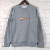 Cute Simple love Patter Embroidery blouse Sweatshirt Top Sweater