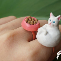 Cat Ring and Cat Food Bowl Ring Set / funny by supershygirl