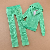 Juicy Couture Studded Luxurious Jc Velour Tracksuit 8606 2pcs Women Suits Green