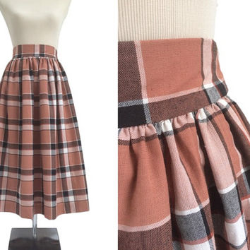 Vintage Dirndl Skirt - 1960s 60s - Plaid Vintage Skirt - Salmon, Brown, Black Check Midi Skirt