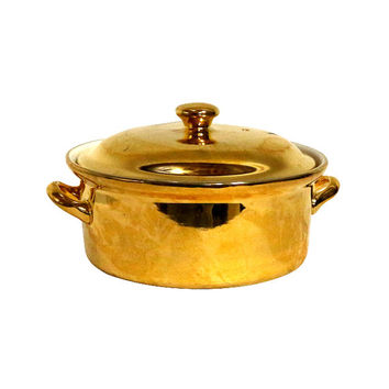 Vintage 22K Gold Serving Dish, Real Gold Casserole Server by Hall Pottery