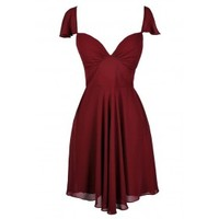 Lily Boutique Red Flutter Sleeve Dress, Burgundy Flutter Sleeve Dress, Cute Burgundy Dress, Cute Red Dress, Burgundy Chiffon Dress, Burgundy Bridesmaid Dress, Burgundy Party Dress, Burgundy Cocktail Dress, Lily Boutique