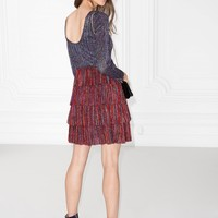 & Other Stories   Frills And Glitter Dress   Red/Purple/Metallic