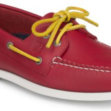Sperry Top-Sider Authentic Original Flag Day 2-Eye Boat Shoe Red/YellowLeather, Size 9M  Men's Shoes