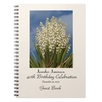 40th Birthday Party Guest Book, Blooming Yucca Notebook
