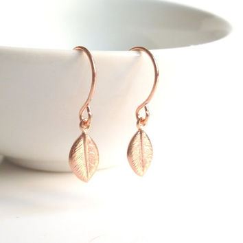 Rose Gold Leaf Earrings - tiny pink rose gold plated fall leaves dangle on matching small ear wire hooks - petite / minimalist / delicate