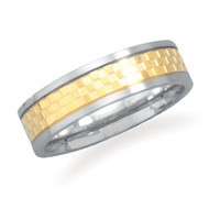 Two Tone Stainless Steel Ring Checker Pattern