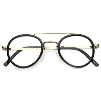 Retro Hipster Indie Dapper Round Clear Lens Aviator Glasses 9922