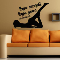Wall Decals Girl Words Quote Yoga Accepts Yoga Gives Gym Sport Decal Vinyl Sticker Home Interior Design Art Mural Kids Room Decor KG802