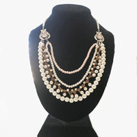 Wedding Pearl Necklace, Bridal Pearl Necklace, Multi Strand Pearls, Chunky Pearl Necklace,, Elegant Pearl, Necklace, Vintage Style