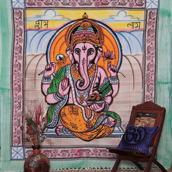 Indian Lord Ganesh Bedcover, Indian Tapestry, Indian Wall Hanging, Hippy Hippie Tapestry, Ganesha Bedcover, Ganesh Wall Hanging.Dorm Bedding
