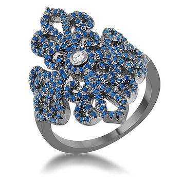 WildKlass 1.23ct Sapphire CZ Hematite Filigree Cocktail Ring