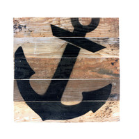 Anchor - Reclaimed Repurposed Nautical Art Sign 10-in
