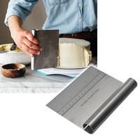 Stainless Steel Pizza Dough Scraper Cutter Kitchen Flour Pastry Cake Tool Scale with Measurements Baking Tool Easy Cleanup