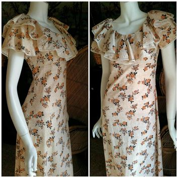 60's Tan Golden Flowers Maxi Dress, Short Ruffle Sleeve Dress, Prairie Dress, Bohemian Dress, Festival Dress, Long Floral Dress, SM