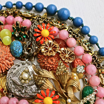 Vintage Broken Jewelry Lot - Colorful Earrings, Brooches, Necklaces, for Repair Repurpose / Over 1 Pound of Supplies