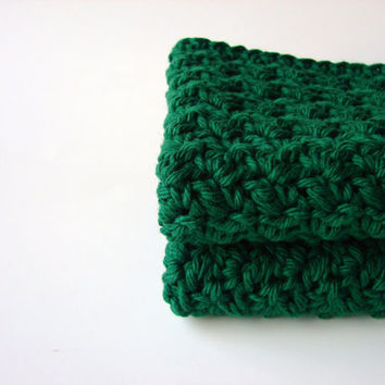 Crochet Cotton Washcloths / Bath Scrubbies Green by MyHobbyShop