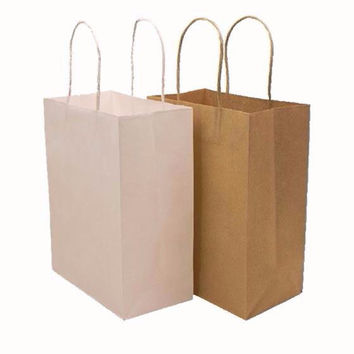 10PC White Brown Kraft Paper Bag with Handle Party Gift Paper Bags Rustic Wedding Birthday Candy Favor Baby Shower Souvenir Kids