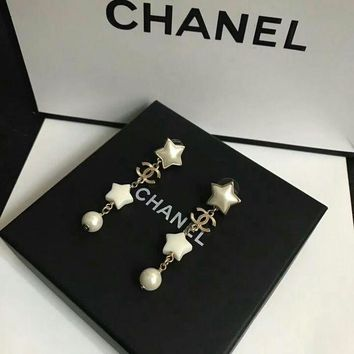 LMF3DS Chanel logo with Star shaped and spherical pearl long white earrings dangle