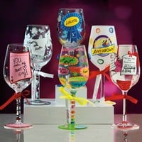 One or Two Lolita Hand-Painted Wine Glasses in Choice of Design from £8.99 (Up to 58% Off)