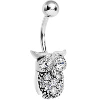 Silver 925 Clear CZ Clever Owl Belly Ring | Body Candy Body Jewelry