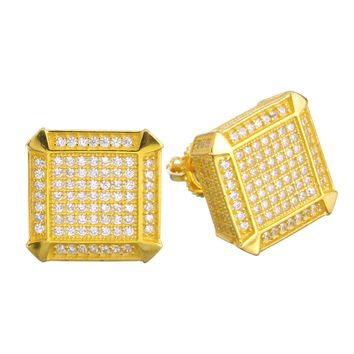 Jewelry Kay style Men's Iced Out 14k G/S Plated Micro Pave Block CZ Screw Back Earrings SHS 472
