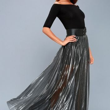 Metallic Maven Gunmetal Pleated Maxi Skirt