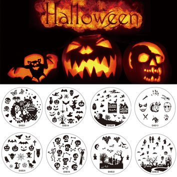Halloween 1pcs Nail Art Round Stainless Stamping Plate Stamp Steel Plates DIY Polish Templates Nails Kit Tool