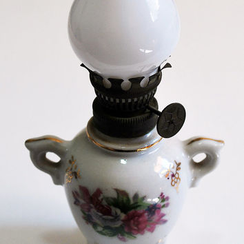 Vintage White Oil Lamp with Rose Pattern - Shabby Chic, Cute, Milk Glass, Ceramic
