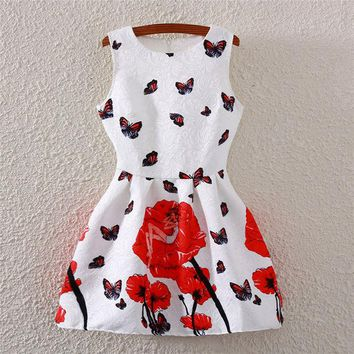 LMFUG3 Women's Fashion Butterfly Palace Print Sleeveless High Rise Vest One Piece Dress [4919326340]