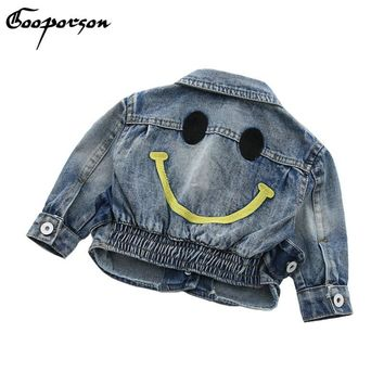 Kids Girls Jeans Jackets Smile Face Long Sleeve Short Jeackets Punk Style Kids Coat Spring Outerwear Baby Boys Denim Clothing