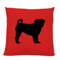 Pug Silhouette Pillow - Your Choice of Color - Modern Home Decor Living Room- dog breed silhouette pillow - dog home decor