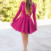 Skip a Beat Dress - Berry