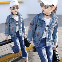 New 2018 Denim Jackets Big Girls Clothes Autumn And Spring Coat Female Children Casual Clothing Kids Fashion Outerwear Tee Tops