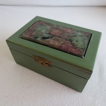 "SALE - Handmade Wooden Trinket Box – Jewelry Box – ""Junk"" Box - Painted – Wedgewood Green – Faux Agate"