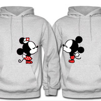 Mickey and Minnie Kissing Disney Inspired Matching Couples Hoodies in Grey. Personalize for a perfect gift