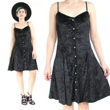 90s Black Velvet Mini Dress Crushed Velvet Skater Dress Button Down Front Spaghetti Strap Dress Gothic Black Velvet Party Dress (S/M)