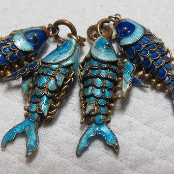 Vintage Chinese articulated silver enameled fish pendants group of four