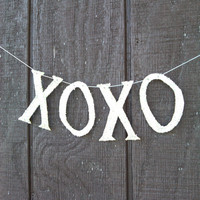XOXO Bannner Garland Wedding Shower Anniversary Valentines Day Birthday Party Handmade Decoration Photo Prop Silver German Glass Glitter
